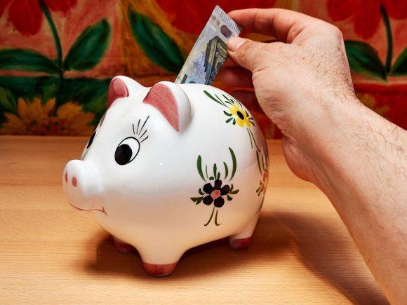 savings, piggy bank, hand